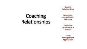 Special Relationships Coaching Relationships Managing your Athletes Behavior