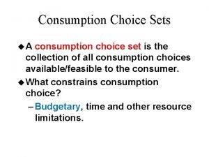 Consumption Choice Sets u A consumption choice set