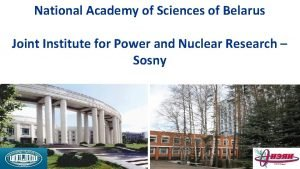National Academy of Sciences of Belarus Joint Institute