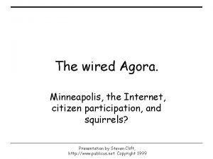 The wired Agora Minneapolis the Internet citizen participation