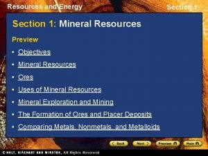 Resources and Energy Section 1 Mineral Resources Preview