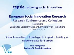 tepsiegrowing social innovation European Social Innovation Research Conference