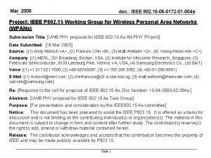 Mar 2005 doc IEEE 802 15 05 0172