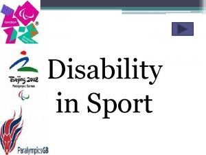 Disability in Sport The Disability Discrimination Act 1995