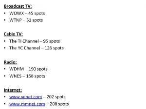 Broadcast TV WOWX 45 spots WTNP 51 spots