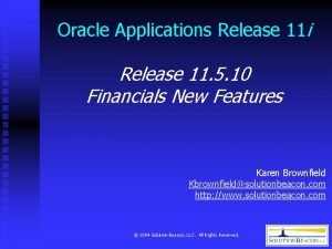 Oracle Applications Release 11 i Release 11 5
