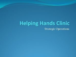 Helping Hands Clinic Strategic Operations Introduction Helping Hands