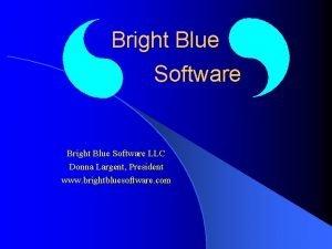 Bright Blue Software LLC Donna Largent President www