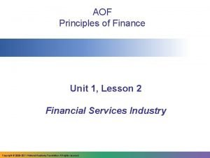 AOF Principles of Finance Unit 1 Lesson 2