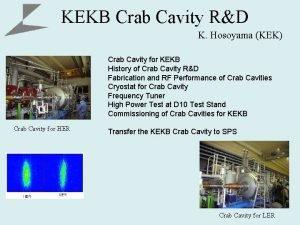 KEKB Crab Cavity RD K Hosoyama KEK Crab