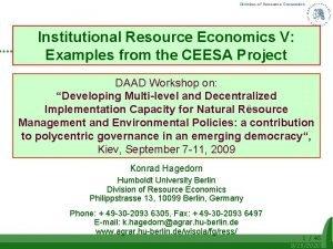 Division of Resource Economics Institutional Resource Economics V