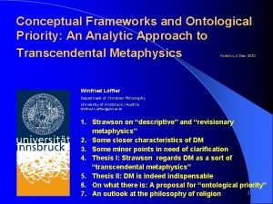 Conceptual Frameworks and Ontological Priority An Analytic Approach