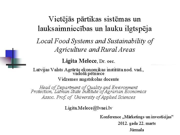 Vietjs prtikas sistmas un lauksaimniecbas un lauku ilgtspja