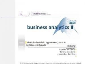 Managerial Economics Decision Sciences Department Developed for business
