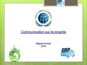 Communication sur le progrs Rapport annuel 2018 PROPRETE