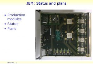 JEM Status and plans Production modules Status Plans