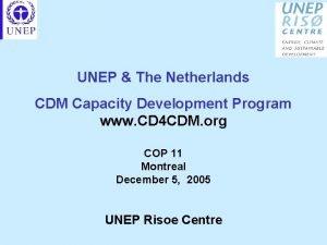 UNEP The Netherlands CDM Capacity Development Program www