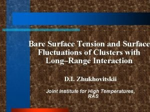 Bare Surface Tension and Surface Fluctuations of Clusters