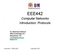 EEE 442 Computer Networks Introduction Protocols En Mohd