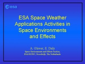 ESA Space Weather Applications Activities in Space Environments