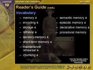 Readers Guide cont Vocabulary memory semantic memory encoding