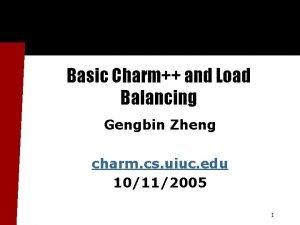 Basic Charm and Load Balancing Gengbin Zheng charm