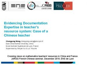 Evidencing Documentation Expertise in teachers resource system Case
