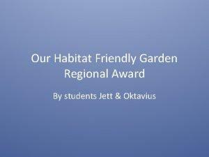 Our Habitat Friendly Garden Regional Award By students