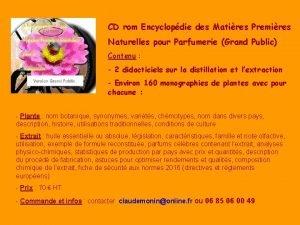 CD rom Encyclopdie des Matires Premires Naturelles pour