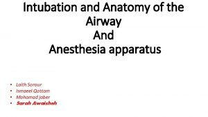 Intubation and Anatomy of the Airway And Anesthesia