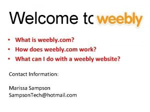 Welcome to What is weebly com How does
