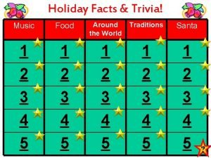 Holiday Facts Trivia Music Food Around the World