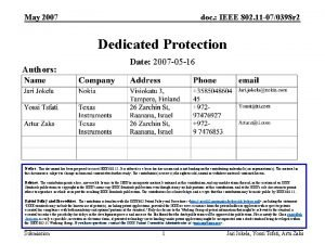 May 2007 doc IEEE 802 11 070398 r