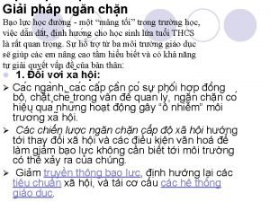 Gii php ngn chn Bo lc hc ng