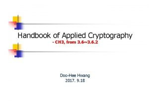 Handbook of Applied Cryptography CH 3 from 3