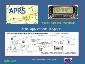 APRS Mobile Satellite Operations APRS Applications in Space