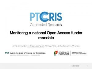 Monitoring a national Open Access funder mandate Jos