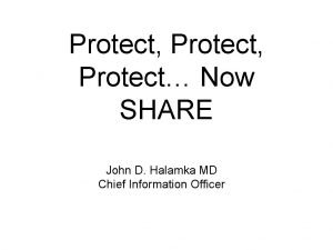 Protect Protect Now SHARE John D Halamka MD