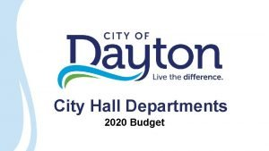 City Hall Departments 2020 Budget City Hall Administration