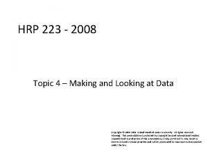 HRP 223 2008 HRP 223 2008 Topic 4
