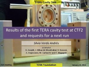 3 GHz Cavity Test Results of the first