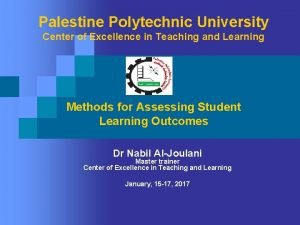 Palestine Polytechnic University Center of Excellence in Teaching