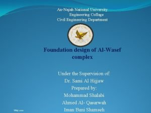 AnNajah National University Engineering Collage Civil Engineering Department