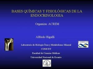 BASES QUMICAS Y FISIOLGICAS DE LA ENDOCRINOLOGIA Organiza