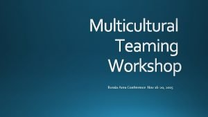 Multicultural Teaming Workshop Russia Area Conference Nov 16