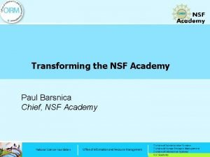 Transforming the NSF Academy Paul Barsnica Chief NSF