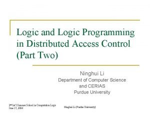 Logic and Logic Programming in Distributed Access Control