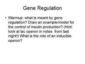Gene Regulation Warmup what is meant by gene