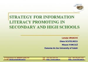 STRATEGY FOR INFORMATION LITERACY PROMOTING IN SECONDARY AND