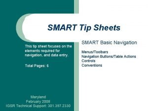 SMART Tip Sheets This tip sheet focuses on